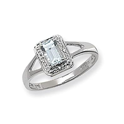 Unique Wishlist 9ct White Gold Aquamarine & 1pt Diamond Emerald Cut Oblong Ring *RD206WAQ