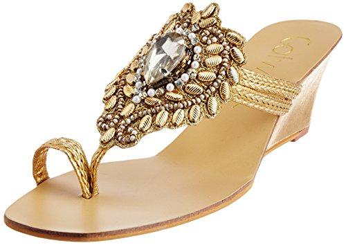 Catwalk Women's Gold Slippers - 5 UK