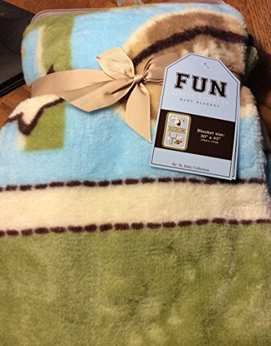 "Fun Little Doodles Baby Blanket ""Touch Down Sage"". Blue and Green with Football Theme. Boys Blanket 30x45 in Size"