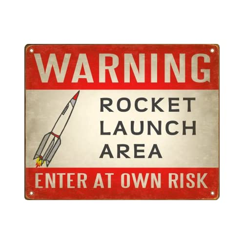 Amazon.com - Rocket Launch Area Warning Sign / Retro Wall Plaque -