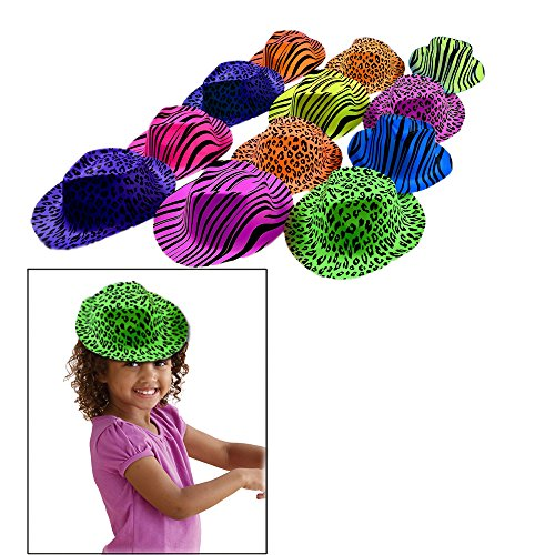 Toy Cubby Animal Printed Gangster Neon Colored Hats - 24 pieces