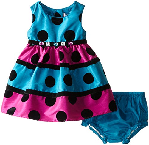 Sweet Heart Rose Baby Girls' Polka Dot Flocked Occasion Dress, Teal/Multi, 18 Months