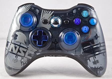 Halo 4 Limited Edition Drop shot, Auto-aim, Jitter Xbox 360 Modded Controller COD MW3, Black Ops 2, MW2, Rapid fire mod (Blue buttons)