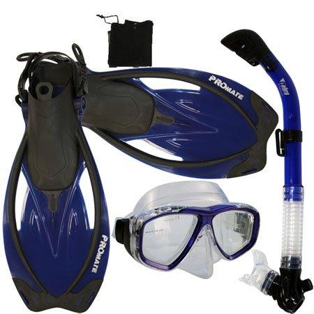 PROMATE Snorkeling Scuba Dive Mask Fins DRY Snorkel Gear Set, TBu, ML/XL
