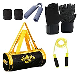 Blt 472Cms Softsided Polyester Multicolor Gym Duffle Bag With 1 Pair Gym Gloves,1 Power Grip,1 Skipping Rope,1 Pair Sweat Band