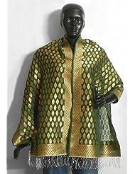 DollsofIndia Green Banarasi Brocade Stole with Golden Zari Border  Silk  Green