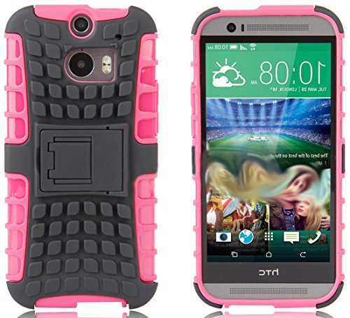 Mylife Strawberry Pink + Grey {Rugged Design} Two Piece Neo Hybrid (Shockproof Kickstand) Case For The All-New Htc One M8 Android Smartphone - Aka, 2Nd Gen Htc One (External Hard Fit Armor With Built In Kick Stand + Internal Soft Silicone Rubberized Flex