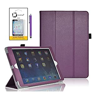 InventCase Apple iPad Air Tablet (1st Generation - 9.7-Inch) 2013 Smart Multi-Functional Leather 3-Fold Case Cover with Sleep Wake Function - Purple