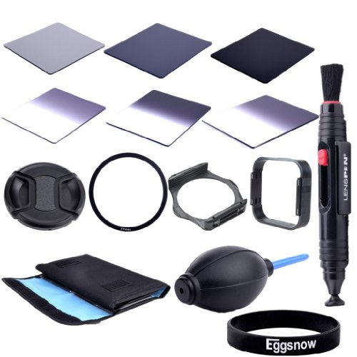 Eggsnow Dslr Camera Accessory Kit - Graduated Nd2 Nd4 Nd8 + Full Nd2 Nd4 Nd8 + 6 Pockect Fliter Bag + 77Mm Center Pinch Lens Cap + Air Blower Cleaner Blaster + 77Mm Adapter Ring + Lens Hood + Filter Holder + Lens Clearing Pen (77Mm)