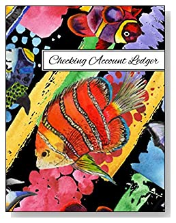 Watercolor Fish Checking Account Ledger - A beautiful book with wide lines to easily track all your checking account activity without having to write tiny and cram everything into those little check register booklets.
