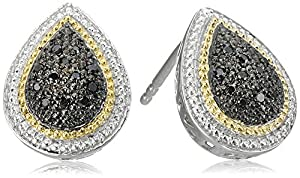 Sterling Silver Black Diamond Pear Shape Stud Earrings