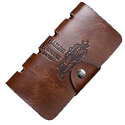 USA Distribution Classic Vintage BALINI Cowboy/501 Pattern Bifold Mens Genuine Leather Wallet (Cowboy, Long)