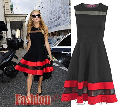 fashion-bazaar-celebrity-black-flared-skater-dress-with-mesh-panel-insert-paris-hilton-inspired-litt