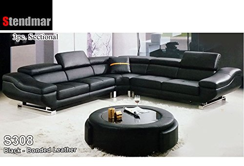 Super Where To Buy Modern Black Bonded Leather Sectional Sofa Set Short Links Chair Design For Home Short Linksinfo