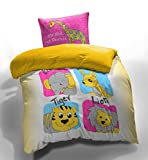 Spaces Kids I love my Planet Cotton Single Bedsheet with 1 Pillow Cover - Pink and Yellow