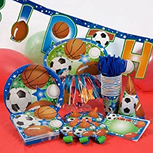 Amazon.com: Ultimate Sports Theme Party Kit - Features Football/Soccer