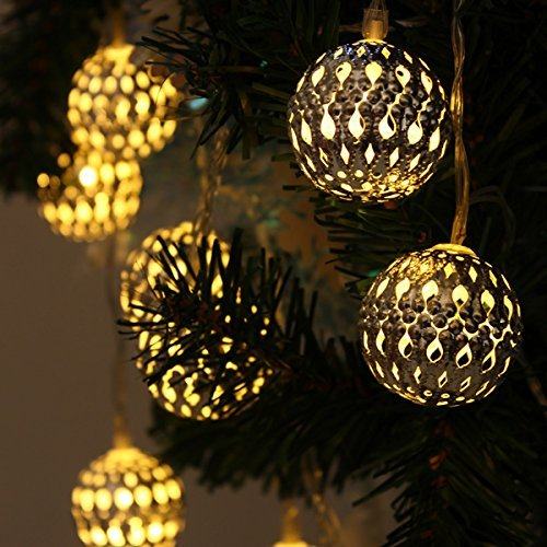 Metal Globe String Lights : String Lights Lanterns Solar Gardens Yellow Moroccan Metal Globe 12 LED 2 Modes eBay