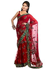 SRP Fashion Selection Women's Net Saree (SRP104-42, Red)