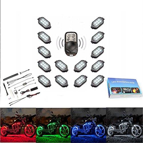 AUDEW 14 Pcs 84 LED Eclairage Néon Décoration Accent Lumières Télécommande Sans Fil Kit Pour Moto Vélo Blanc