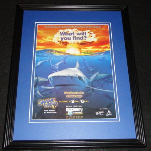 shark-week-1999-discovery-channel-framed-11x14-original-advertisement