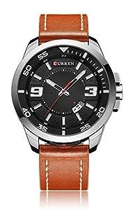 CURREN Men's Simple Analog Display Quartz Calendar Date Casual Classic Wrist Watch Khaki