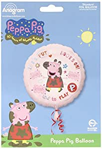 """Balloons and Party 18"""" Peppa Pig Pink Kids Birthday Party Round Foil Balloon ."""