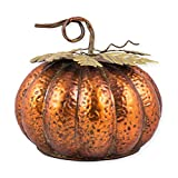 Metal Pumpkin Figurine Halloween Autumn Decoration - Size 7.5 x 9.5 Inches