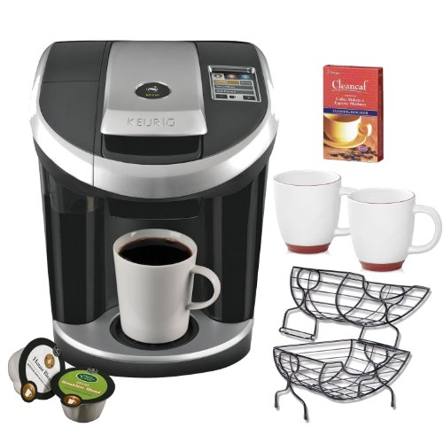 Keurig Vue V700 Brewing System Machine + Nifty Single Serve Coffee Baskets + 2 Piece 12 oz. Halo Bistro Wide Body Coffee Cup + Urnex Cleaner