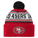 NFL San Francisco 49ers Youth 8-20 Cuffed Knit Pom Hat, Youth One Size, Crimson