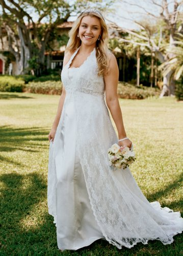 David's Bridal Wedding Dress: All Over Lace A-line Gown w/ Beading Style 9H9572 onSale
