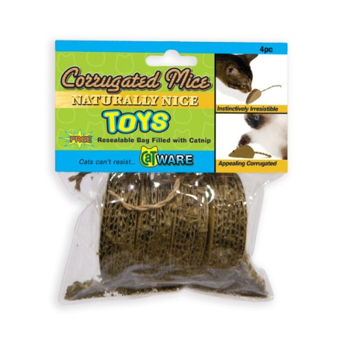 Image Ware Manufacturing Corrugated Mice Cat Toy with Catnip, Pack of 4