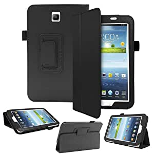 SlickBlue (TM) For Galaxy Tab 3 7.0 inches-Magnetic Flip Stand Case Cover With Sleep Wake Function-Black