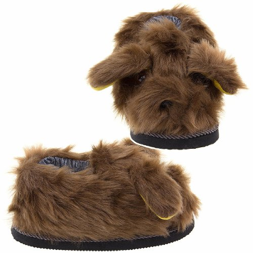 Cheap Brown Fuzzy Dog Slippers for Women (B0096UBKWC)
