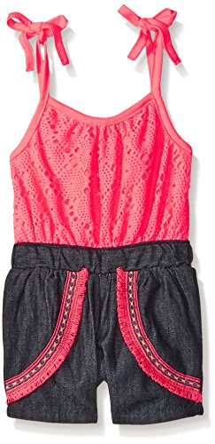Limited Too Big Girls Lace Tank Top Denim Bottom Romper, Neon Coral, 7/8
