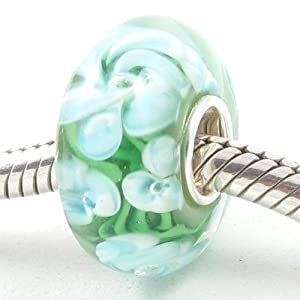 Murano Style Glass Bead with Solid Sterling Silver Core