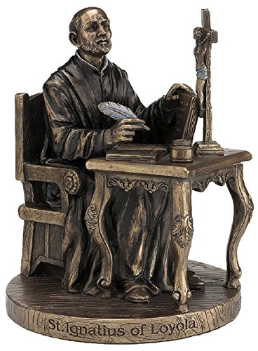 A Veronese St. Ignatius of Loyola statue in lightly hand-painted cold cast bronze, 6.5inches.