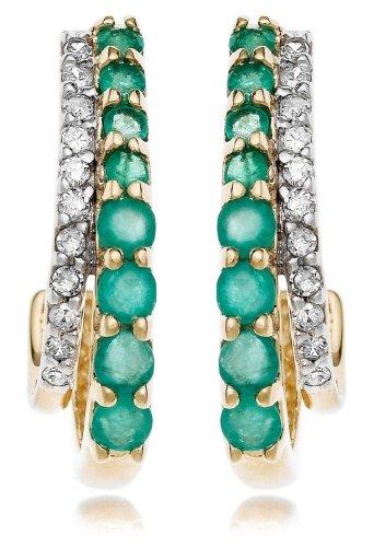 14k Yellow Gold Diamond and Emerald J Hoop Earrings