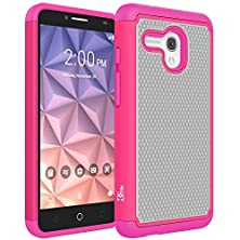 buy Fierce Xl Case, Dgtle [Drop Protection] [Dual Layer] Armor Defender Shockproof Hybrid Protective Case Cover For Alcatel Onetouch Fierce Xl (2015) (Hot Pink)