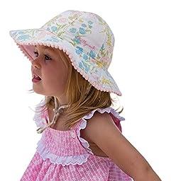 Indiana Girls Sun Hat Vintage Bucket Beach Hat-Reversible Cotton UPF50+ Sun Protection 12-24 Months(48cm) (Lemon)