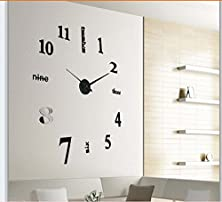 buy Modern 3D Frameless Large Wall Clock Style Watches Hours Diy Room Home Decorations Model (Gold)