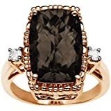 Smoky Quartz Ring with Diamonds in 10K Pink Gold