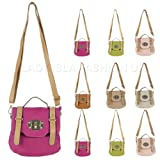 Ladies New Stylish Cross-Body Small Satchel Fashion Bag with Adjustable and Detachable Long Strap. Available in Lime Green, Pink, Beige, Pale Pink, Brown Tan, Stone and Rose Pink Colours.by Lady Isla Fashion
