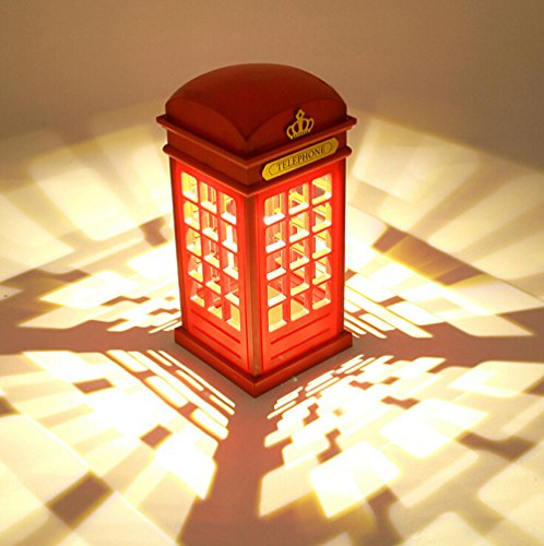 Retro Classical English Style Red Telephone Booth Decoration with LED Light
