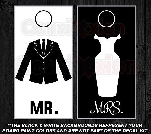 MR and MRS Cornhole Board Decal Kit Bean Bag Toss Wedding Bride and Groom 6 Piece Vinyl Set - ONLY BY INFINITY GRAPHIX/CONVIXXION (Mr Bean Car compare prices)