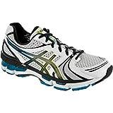 ASICS Men's GEL-Kayano 18 Running Shoe,White/Black/Hot Blue,8 M US