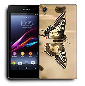Snoogg Black Butterfly Printed Protective Phone Back Case Cover For Sony Xperia Z3