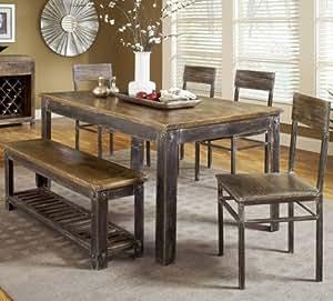 Modus Farmhouse 6 Piece Dining Room Set W Oxidized Finish Tab