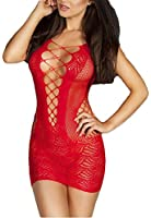 made2envy Crochet Mesh Hollow Out Mini Chemise Dress