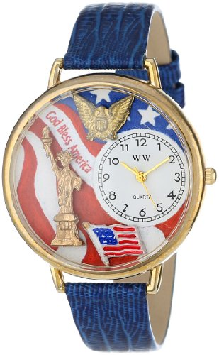 Whimsical Watches Unisex G1220022 July 4th Patriotic Blue Leather Watch image