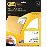 Post-it® Super Sticky Removable Identification Labels, 3.33 x 4 Inches, White, 150 per Pack (2500-J)